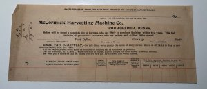 1890s MCCORMICK HARVESTING MACHINE CO Philadelphia Pennsylvania Letterhead