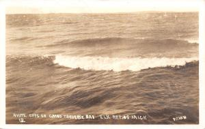 Elk Rapids Michigan~Grand Traverse Bay White Caps~1938 Real Photo Postcard~RPPC