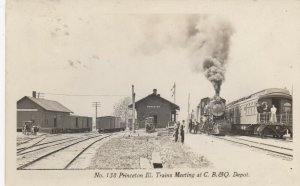 RP: Princeton , Illinois , 1908 ; Trains meeting at C.B.&Q. Railroad Depot
