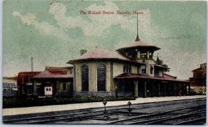 Danville, Illinois Postcard The Wabash Station RAILROAD DEPOT 1910 Cancel