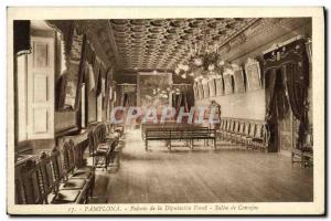 Old Postcard Pamplona Palacio Diputación Foral of Conejos Salon