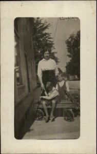 Children in Wagon w/ Mother on Street c1910 Real Photo Postcard