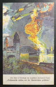 Mint Germany Color Picture Postcard War Scene Enemies Airplanes Attack