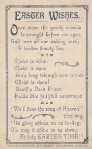 Easter Christian Songcard Wishes Antique WW1 Postcard