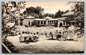 Saratoga Springs New York~NY State Spa~Swimming Pool Crowd~1940s Artvue Postcard