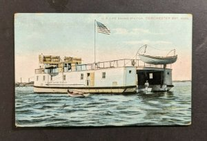 Vintage US Life Saving Station Dorchester Bay MA Picture Postcard