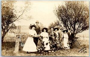 Vintage Iowa RPPC Photo Postcard Teens Boys & Girls Outdoors BAKULA N.13V IA