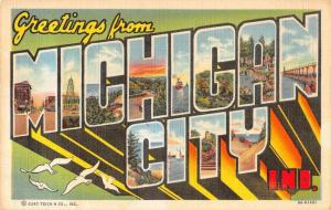 Michigan City Indiana Greetings Large Letter Linen Vintage Postcard JB627181