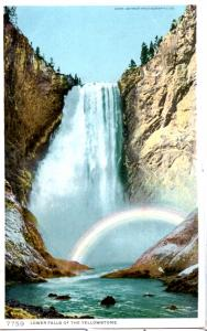 YELLOWSTONE, DETROIT PUBLISHING, LOWER FALLS (WITH RAINBOW), DIVIDED BACK