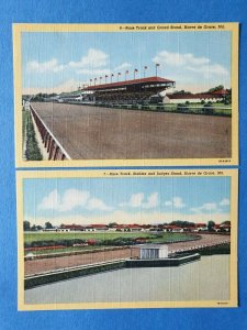 2 x Linen Curt Teich 1941 USA Postcards Havre de Grace Race Track Maryland 51Y