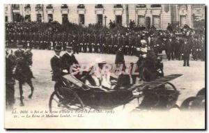 Old Postcard Militaria The King and Queen of Italy in Paris (October 1903) Th...