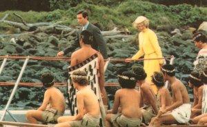 Charles & Diana on Maori War Canoe & New Zealand Warriors Postcard