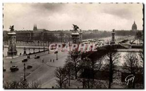Paris Postcard Old Pont Alexandre III and Invalides