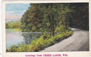 Wisconsin Greetings From Three Lakes 1936