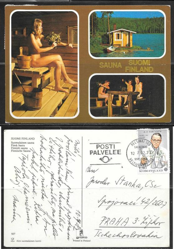 Finland, Sauna, nude, mailed to Czechoslovakia in 1982