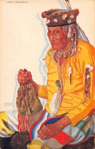 Great Nothern Ry Blackfeet Indian Lazy Boy Reiss Artist Signed Postcard AA35975