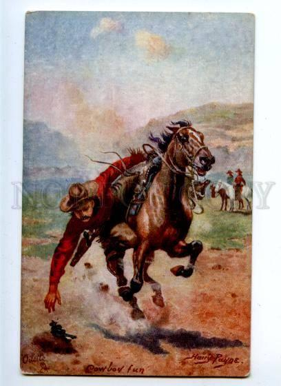 157126 USA Cowboy HORSE Fun by Harry PAYNE vintageTUCK PC