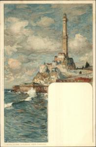 Genova Italy Lighthouse Artist Drawn Lithograph Postcard WIELANDT c1900