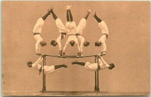 1908 Dusseldorf, German TURNERS Gymnastics Acrobats Postcard 7 Men Parallel Bars