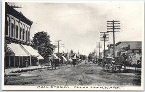 Cedar Springs, Michigan Postcard MAIN STREET Downtown Albertype c1910s Unused