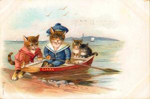 Cat Family in A Dory Beautiful Early 1902 Postcard