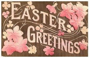 Easter Greetings Pink Flowers Embossed Postcard 1914