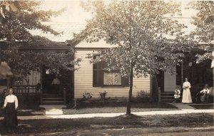 H72/ Blanchester Ohio RPPC Postcard c1910 Home Family Porch  42