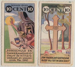 NETHERLANDS - 2 stamp LABELS from 1940... proceeds used for widows and orphans