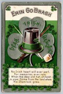 St. Patrick's Day~Black Top Hat On Pipe~Shillelagh~Erin Go Bragh~Silver NASH