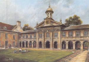 Postcard Art Emmanuel College, Cambridge by Sue Firth Large 170x120mm