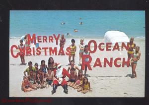 POMPANO BEACH FLORIDA OCEAN RANCH CHRISTMAS POSTCARD BATHING