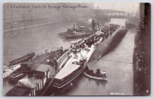 Chicago IL~Steamer Eastland Disaster~Rescue Workers~Clark Street Bridge~1915 PC