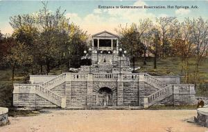 Hot Springs Arkansas~Government Reservation Entrance~Man by Round Table~c1910 Pc
