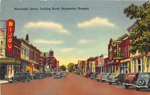 Brunswick GA Newcastle Street Bijou Theatre Marquee Store Fronts Postcard
