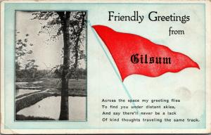 Kind Thoughts on Same Track From Gilsum New Hampshire~Dam~1926 Pennant PC