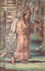 White Woman Fake Native Indian Advertising Wyandotte Cleaner Postcard c1910