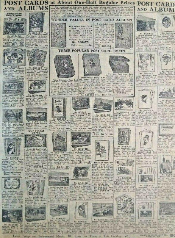 1911 Antique Postcard Albums Boxes Art Sears Catalog Page Vintage Print Ad