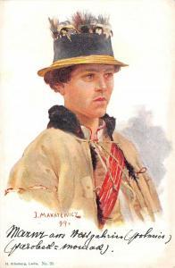 BG19653 woman j makarewicz  painting postcard  ukraine lwow