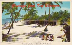 Florida Miami Greetings From Key Biscayne Cabanas Located On Crandon Park Bea...