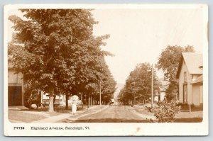 Randolph VT~Highland Avenue Homes~Victorian Lady Strolls w/ Parasol~1920 RPPC