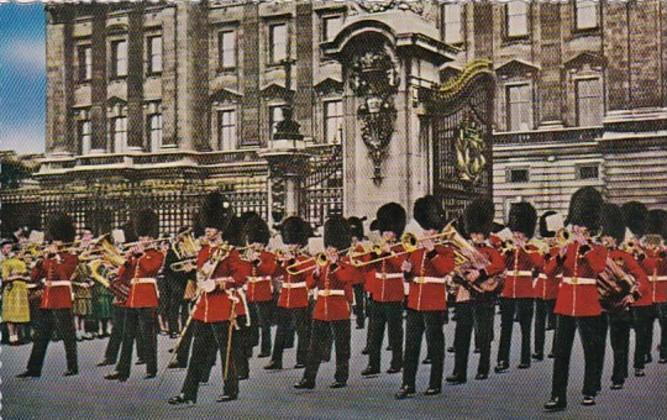 Military Uniforms The Guards Band Outside Buckingham Palace London