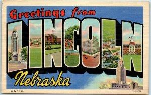 LINCOLN Nebraska Large Letter Postcard w/ State Capitol CURTEICH Linen 7A-H3642