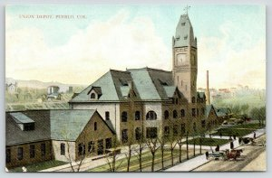 Pueblo Colorado~Union Railroad Depot~Train Station Clock~Horse Wagons~c1910 PC