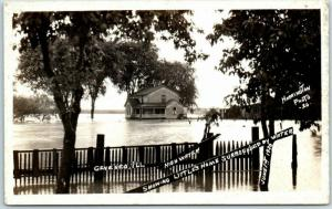 Geneseo, Illinois RPPC Postcard FLOOD SCENE June 1st 1920 HARRINGTON Photo
