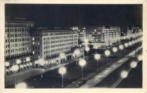 Germany Berlin Stalinallee by night 1950s photo postcard