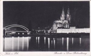 RP, Brucke-u. Dom Beleuchtung, Koln a. Rhein (North Rhine-Westphalia), German...