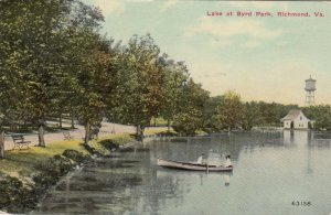 RICHMOND , Virginia , 1911 ; Lake at Bird Park