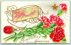 Gem Birthday Series~July~Red Carnations~Ruby Necklace~Gold Emboss~1908 E Nash