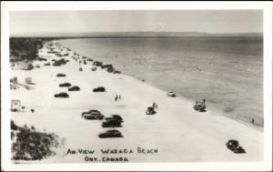 Cars on Wasaga Beach Ontario Real Photo Postcard
