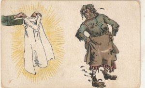 New dress for a poor woman Humorous vintage postcard